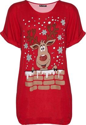 Fashion Star Womens Xmas Santa Reindeer Oversized T Shirt Reindeer Wall Red S/M (UK 8/10)
