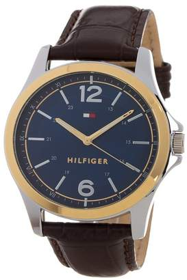 Tommy Hilfiger Men's The Essentials Croc Embossed Leather Strap Watch, 45mm