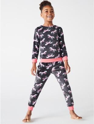 M&Co Unicorn fleece pyjamas (4-12yrs)