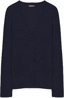 10per3 - Dark Blue Cashmere V Neck Cardigan - Dark Blue | s