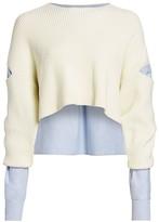 Alexander Wang Mixed-Media Cropped Sweater