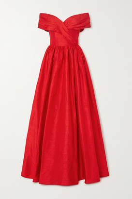 Rasario Off-the-shoulder Silk-shantung Gown - Red