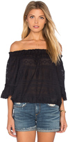Rebecca Taylor Short Sleeve Embroidered Gauze Top
