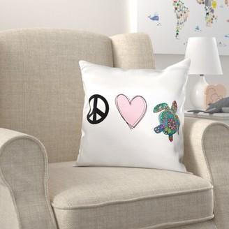 Zoomie Kids Brockington Peace Love Turtles Pillow Cover