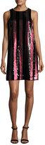 Milly Sleeveless Paillette-Striped Mini Shift Dress, Red/Black