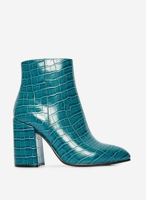 Dorothy Perkins Womens Teal Croc Pattern 'Absolute' Ankle Boots