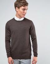 Asos Merino Wool Crew Neck Sweater Brown