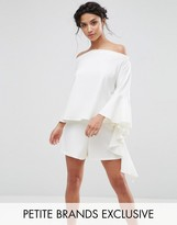 John Zack Petite Off Shoulder Top With Elongated Frill Sleeve Detail
