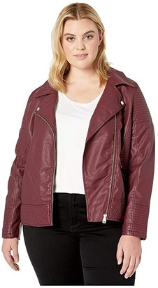 YMI Snobbish Plus Size Faux Leather Jersey Lined Moto Jacket (Sangria) Women's Clothing