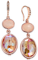 INC International Concepts Rose Gold-Tone Pink Stone Double Drop Earrings, Only at Macy's