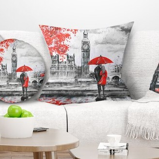 """East Urban Home Landscape Printed Couples Walking in Paris Pillow East Urban Home Size: 16"""" x 16"""", Product Type: Throw Pillow"""