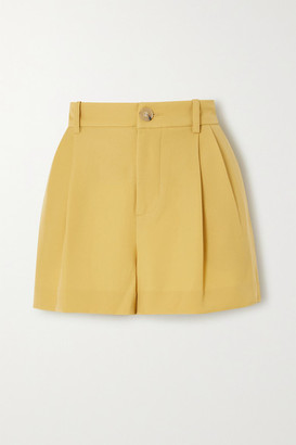 Vince Pleated Crepe Shorts - Yellow