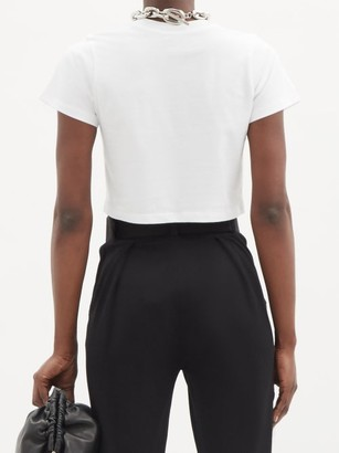 x karla The Baby Cotton-jersey Cropped T-shirt - White