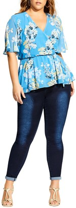 City Chic Whisper Floral Top (Plus Size)