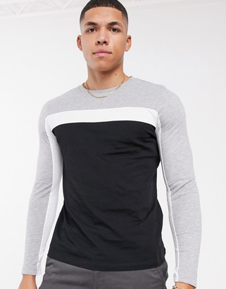 Asos DESIGN long sleeve t-shirt with color block panels in black