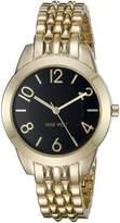Nine West Women's NW/1760BKGB Gold-Tone Bracelet Watch