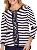 Alfred Dunner Sausalito 3/4-Sleeve Striped Sweater
