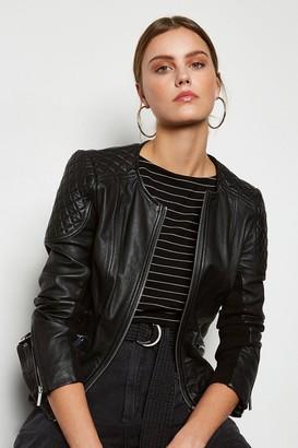 Karen Millen Zip Leather Quilted Shoulder Biker Jacket