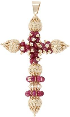 Arte d'Oro Gemstone & Filigree Bead Cross Pendant, 18K