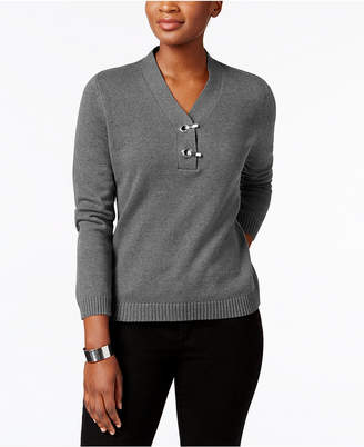 Karen Scott Petite Cotton Toggle Henley Sweater