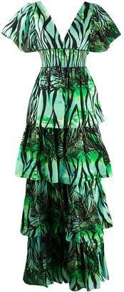 Fausto Puglisi foliage print tiered dress