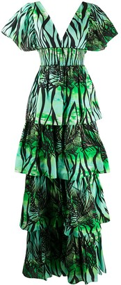Fausto Puglisi Foliage Print Tiered Dress