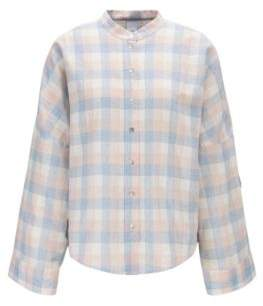 BOSS Oversized-fit check-print blouse in linen with cotton