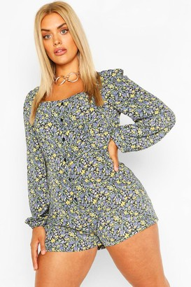 boohoo Plus Floral Button Down Playsuit