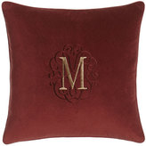 "Legacy Arielle Wine Velvet Pillow with Monogram, 20""Sq."