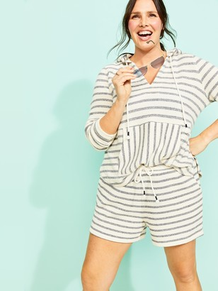 Old Navy Mid-Rise French Terry Baja Stripe Plus-Size Shorts -- 5-inch inseam