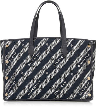 Givenchy Cabas Studded Leather-Trimmed Striped Canvas Bag