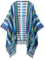 Missoni Fringed Crochet-knit Wrap - Blue