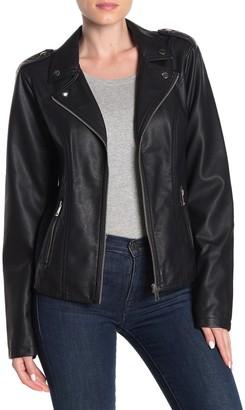 Sebby Center Zip Faux Leather Moto Jacket