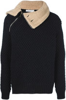 Pierre Balmain shearling collar knit jacket