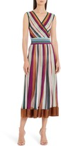 Missoni Metallic Stripe Faux Wrap Midi Sweater Dress