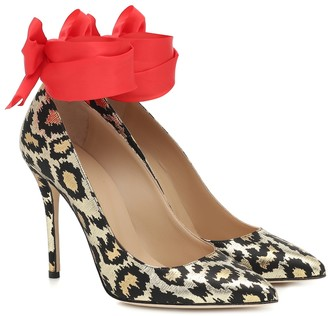 Alessandra Rich Leopard-print jacquard pumps