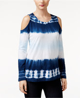 Style&Co. Style & Co. Petite Tie-Dyed Cold-Shoulder Top, Only at Macy's