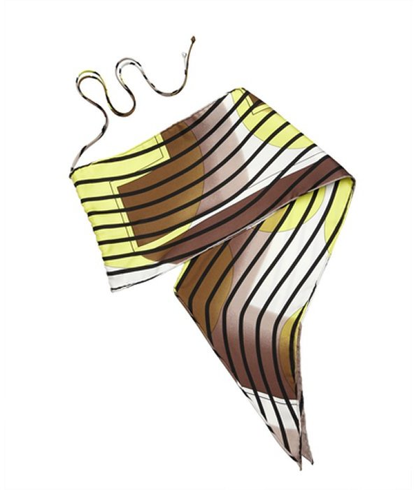 Hermes yellow striped silk convertible bandeau scarf