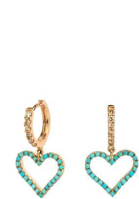 Rosa De La Cruz Turquoise And Diamond Heart Charm Earrings Pair