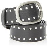Leather double faced stud belt