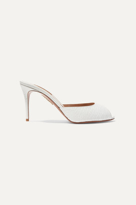 Aquazzura Samantha 85 Croc-effect Leather Mules - White