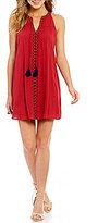 Sequin Hearts Taped-Trim Tassel-Tie Neck Shift Dress