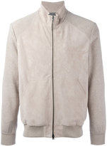 Herno panel bomber jacket - men - Cotton/Calf Leather/Polyester/Viscose - 48