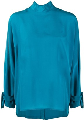 Jejia Buttoned-Back Silk Blouse