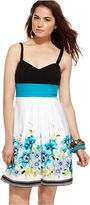 Amy Byer Juniors Dress, Sleeveless Pleated Sash Floral Print