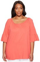 MICHAEL Michael Kors Plus Size Gathered Sleeve Peasant Top Women's Clothing
