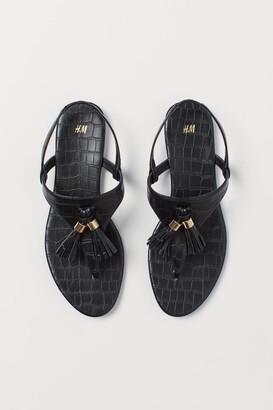 H&M Tasseled Sandals - Black