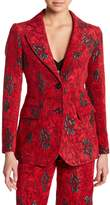 Derek Lam Notch Collar Floral Embossed Blazer