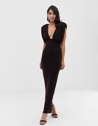 Asos Design DESIGN Blouson Strap Sparkle Maxi Dress-Black
