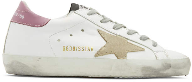 Golden Goose SSENSE Exclusive White and Purple Superstar Sneakers